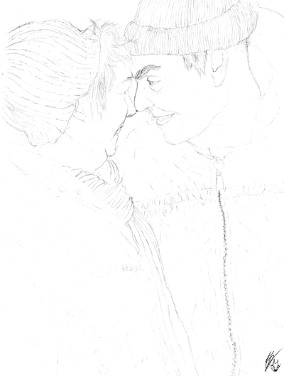 Sketch of Ed & Suz by Emily Slinker